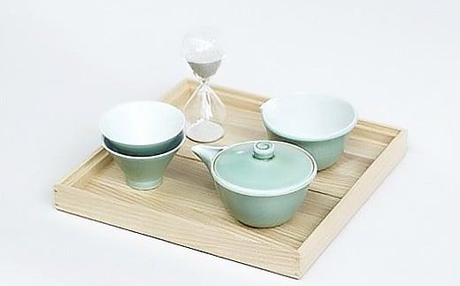 朝日窯工房作 しぼり出し青磁茶盆セット