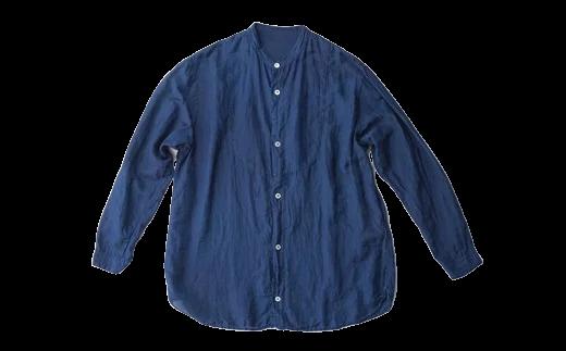 02-BC-1901・手染めシルクコットン切替シャツ サイズ1 NAVY(藍染)