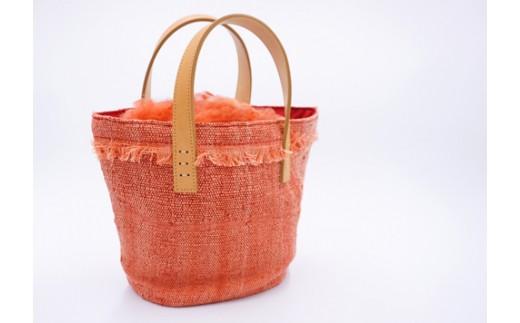 【富岡産シルク使用】 手織り茜染め きびそ布(絹)のトートバック
