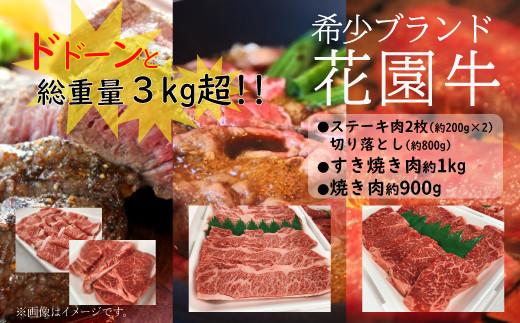 Z-9 【3ヶ月定期便】花園牛どどーんっ!と定期便(総重量約3kg越え)