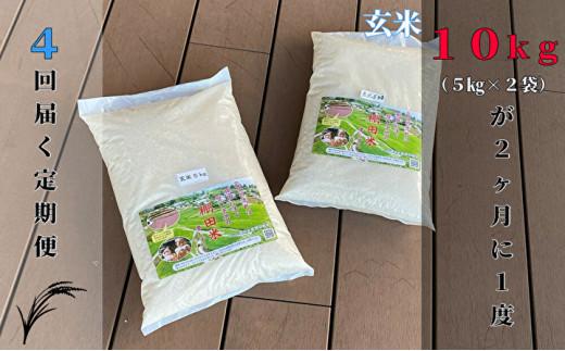 p-6【令和2年産】ひらの棚田米 夢しずく10kg×4回定期便【玄米】