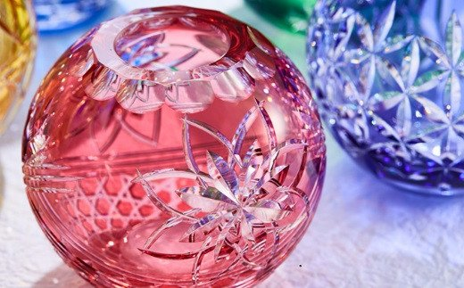 江戸切子 手まり花瓶 〈花籠目〉F713-2922-CAU【1207613】