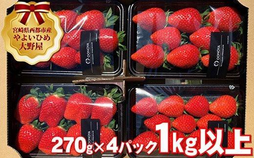 【先行予約】苺大野屋 やよいひめ 厳選いちご 270g×4パック 1kg以上 宮崎県西都市<1.5-170>