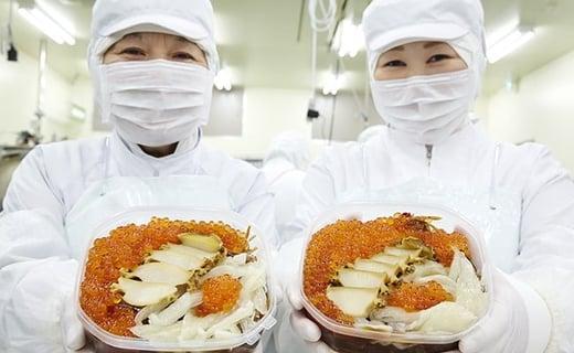 HACCPを取得した工場で、海産品のカットや味付け加工、詰合せをしています