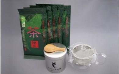 No.22 深蒸し茶500gと茶々急須、茶缶、茶さじセット