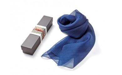 G003a 藍染シルクスカーフ(L)単色濃紺