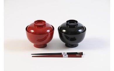 D5302 川連漆器 夫婦雑煮椀 箸付