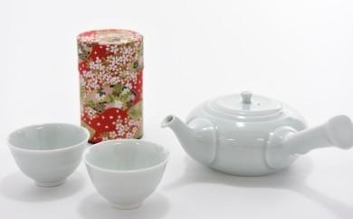 宇治玉露と青磁の茶器セット n0225