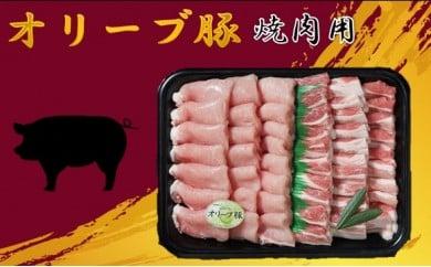 045 オリーブ豚焼肉用1000g[三木町の肉の匠が造る!]