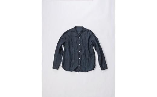 02-BE-1901・手染めリネン切替シャツ サイズ1 BLACK(泥藍染)