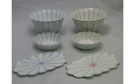 菊割丼・小鉢・菊浅皿(赤・青どちらかの色を一つずつ) H394