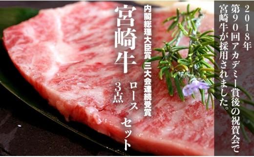 【究極の牛肉】特選 宮崎牛プレミアムセット<ロース3点 計3,400g>【F22】
