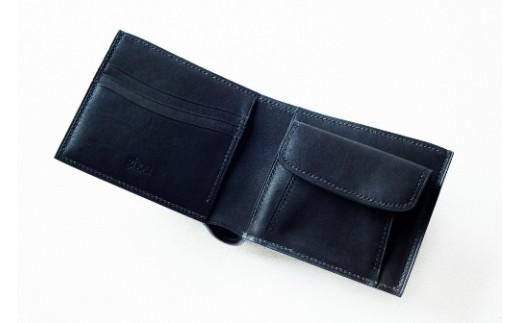 本藍染イタリアンレザーの折財布・コインケース付[本革・手縫い]