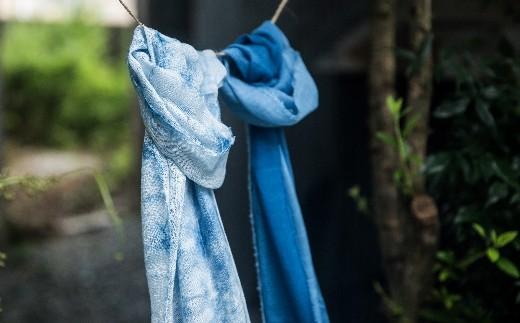 TTS22 あまべ藍オーガニックコットンマフラー(藍染)叢雲柄★日本オーガニックコットン協会認定商品!
