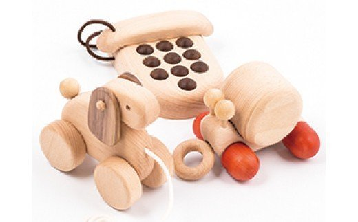 AH5 木のおもちゃ「カタツムリのオルゴール・プッシュフォン・コイヌ」