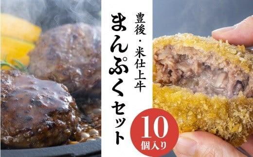 C1-102 豊後・米仕上牛ハンバーグ、メンチカツセット(計10個)【豊後高田市限定】