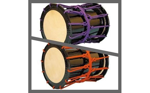 桶胴太鼓1.4尺(紫紐)(赤紐)肩掛けストラップ(黒)付【諏訪工芸】