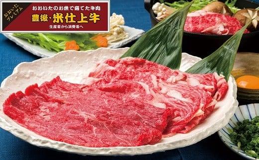 E-36 豊後・米仕上牛リブロース・もも肉すき焼きセット(計600g)