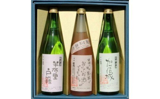 【21010】純米酒「半布里戸籍」・本醸造酒「加治田城」・「黒米酒」3本