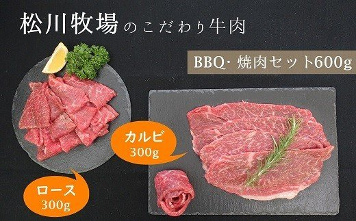 AE-2 【数量限定】 松川牧場のこだわり牛肉 BBQ・焼肉セット 600g