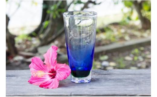 琉球ガラス ビアグラス 青 OCEAN