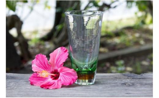 琉球ガラス ビアグラス 緑 FIELD
