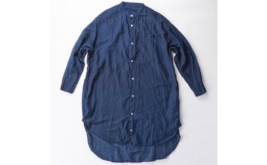 02-BG-1902・手染めシルクコットン切替BIGシャツ NAVY(藍染)
