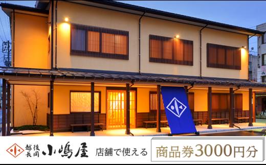 越後長岡小嶋屋 商品券3000円分(500円×6枚)