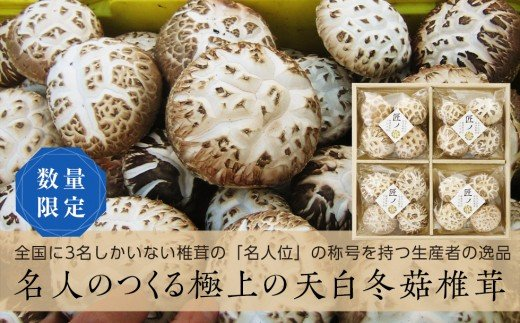 【数量限定】「匠ノ華」 山田産最高級原木乾椎茸・天白冬菇 限定桐箱セット YD-063