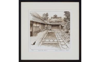 ブライアン・ウィリアムズ氏 作  守山市歴史的風景「諏訪家 書院」の銅版画 オリジナル画集付き