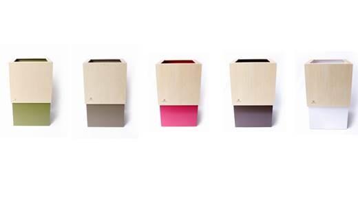 【6P】漆器木地屋さんが作る木工品『W CUBE(ダストボックス)』 [G00606]