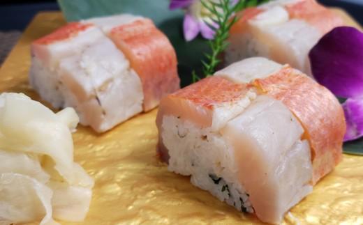 室戸沖獲れ金目鯛と鯖の押し寿司