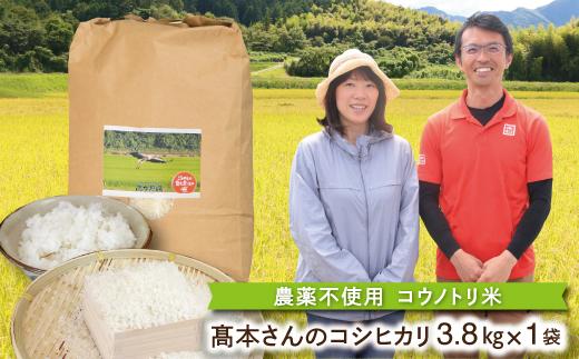 B-23 【令和3年産】高本さんちのコウノトリ育む農法(農薬不使用)のお米 3.8kg