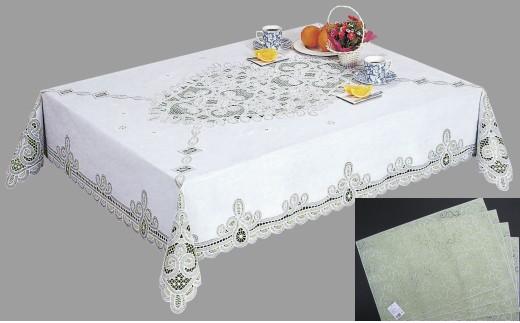 お手入れ簡単!ビニール製レーステーブルクロス&ランチョンマットセット(4種類から選択)[036T03]