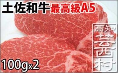 土佐和牛A5特選ヒレステーキ100g×2枚セット 牛肉<高知市共通返礼品>