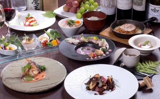 ディナーコースの一例(旬の食材を中心とするため、季節によって食材やメニューが変更になります)
