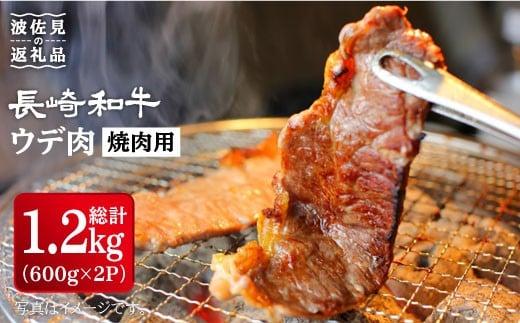 【総計1.2kg】長崎和牛 焼肉用(ウデ肉) 600g×2パック [YA12]