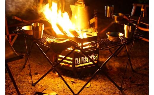947 【ネイチャートーンズ】タワーオブボンファイヤー・オクタゴンファイヤーテーブルセット耐熱塗装ブラック[キャンプ用品・アウトドア焚き火]【予約商品】