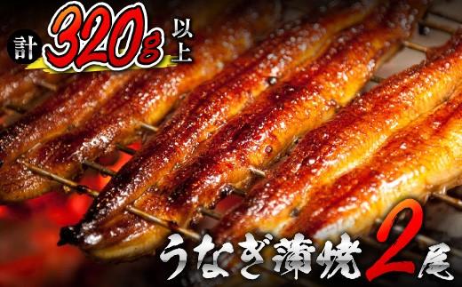 Aa56-0216 うなぎ蒲焼2尾(計320g以上)国産鰻(ウナギ・さんしょう・たれセット)