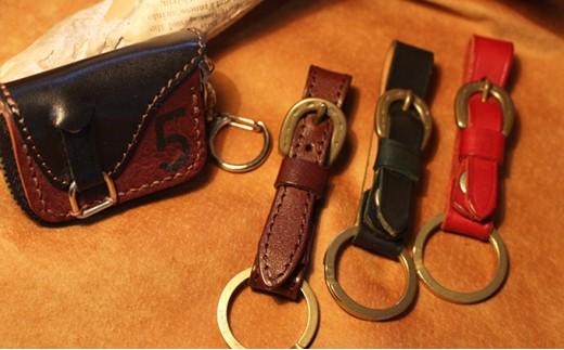 [№5900-0159]蹄鉄キーリング&鞍型ミニコインケース(ブラウン×ブラック)
