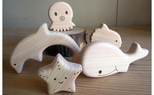 【5P】ひのきのおもちゃ『おふろであそぼう~うみのともだち(イルカたち)~』 [G00508]