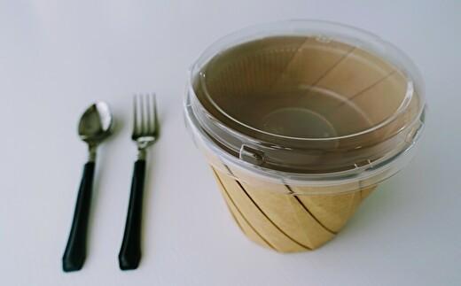 おりがみカップ(フタ・中皿付き)とカトラリーのセットです