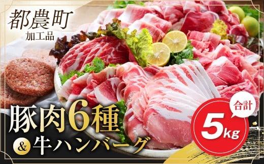 AB81-0216 お楽しみ『豚肉6種&牛ハンバーグセット』合計5kg(都農町加工品)