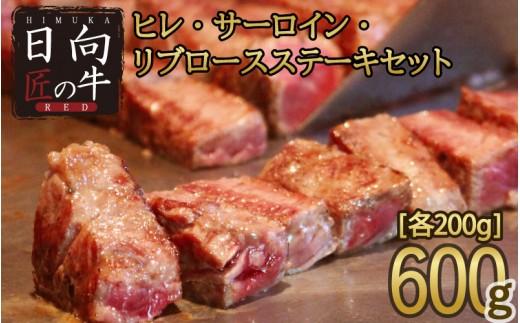 「日向匠の牛RED」ヒレ・サーロイン・リブロースステーキセット 600g【C243】