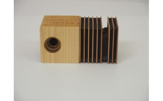 iPhone用パッシブスタンドスピーカー Wood fin cube