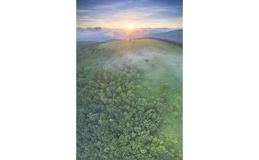 8 美ヶ原高原の焼山の樹林と牧草地の俯瞰パノラマと朝日(美ヶ原高原)8月撮影