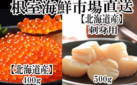 B-28009 根室海鮮市場<直送>いくら醤油漬(秋鮭卵)200g×2P、刺身用天然ほたて貝柱500g
