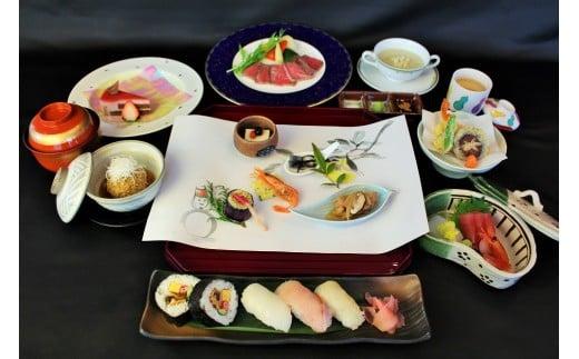 前菜/スープ/お造り/煮物/西脇ローストビーフ/蒸し物/揚物/お寿司盛り合せ/止椀/デザート付御膳です。