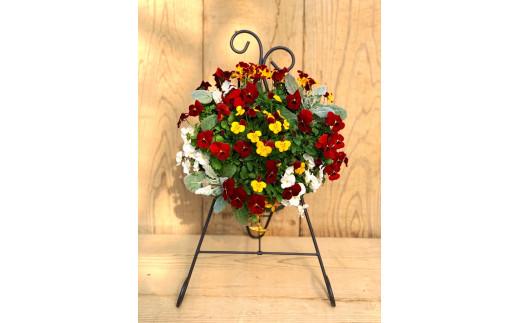 AG-7 季節のお花のハンギングバスケット(スタンド付き)