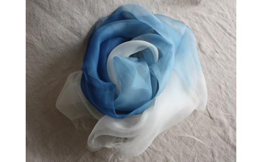 TTS56 あまべ藍ストール(シルク) UMIKAZE